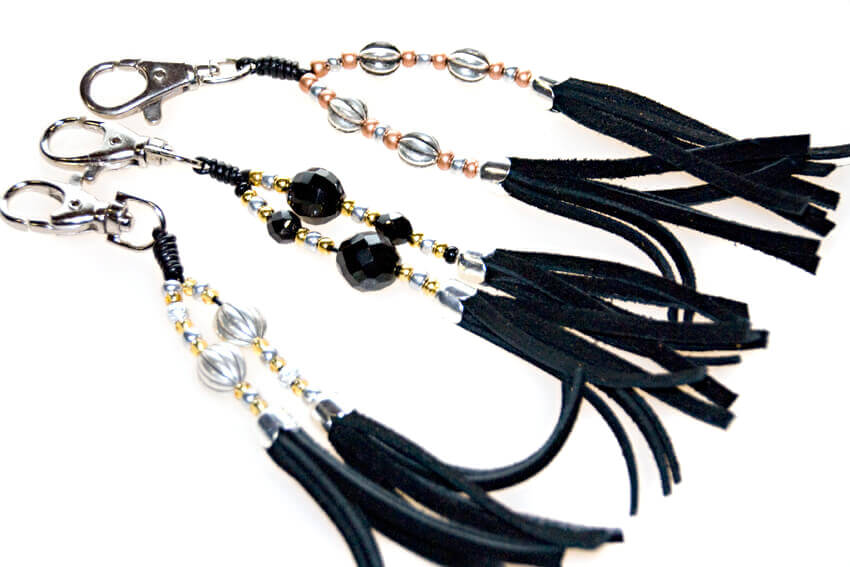 Handmade hound collar tassels in black