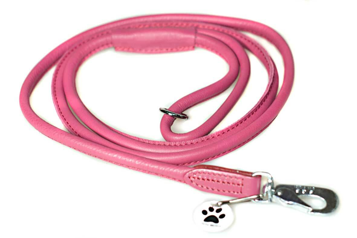 Premium pink rolled leather dog lead