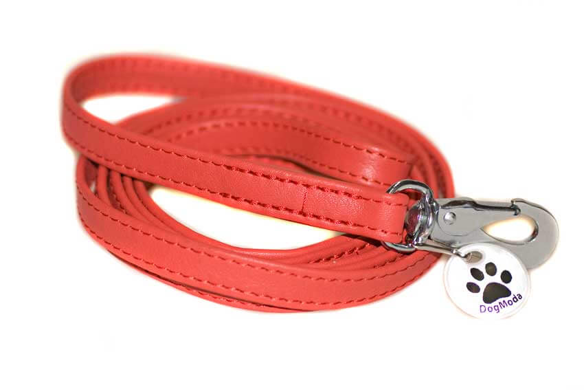 Strong double stitched red nappa leather dog lead