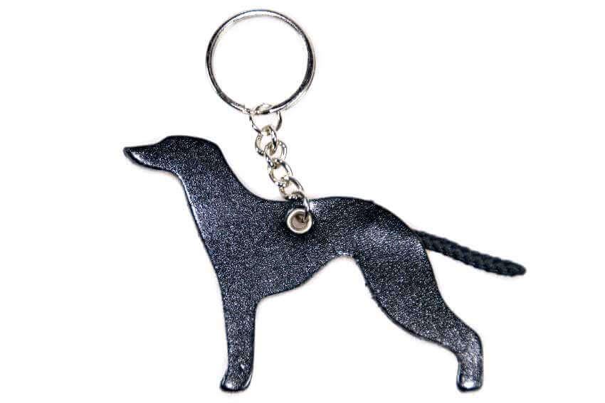 Black leather Whippet key ring fob / bag charm