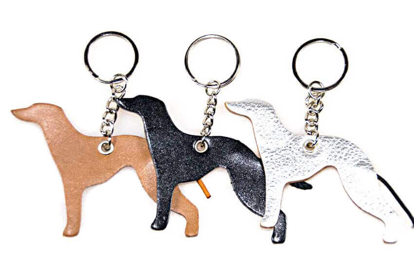 Whippet key rings fobs are also available in fawn, black and silver