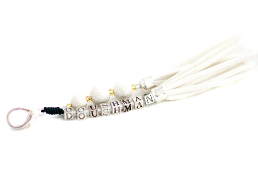 White handmade collar tassel