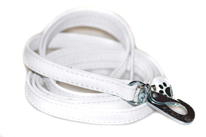 White nappa leather stitched dog lead 1.5m / 5ft