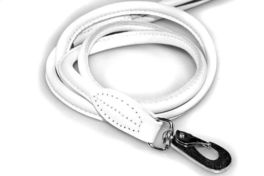 White rolled leather lead to match beige snake hound collar