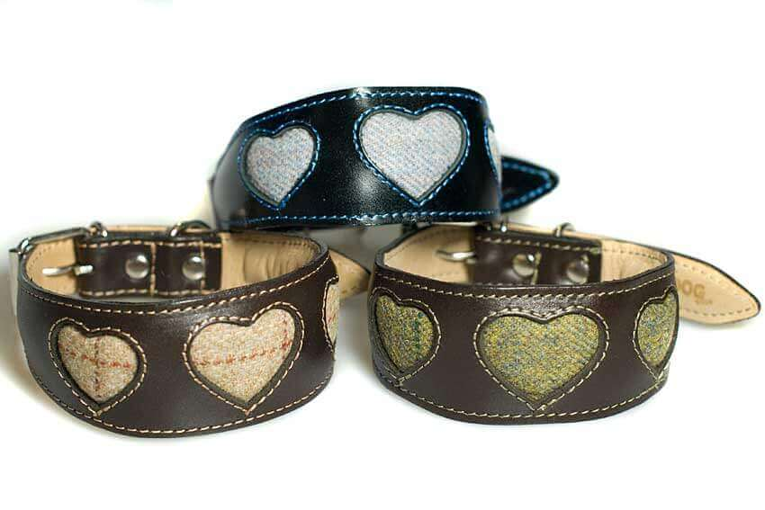 Bespoke tweed hearts whippet collars made by Dog Moda, UK