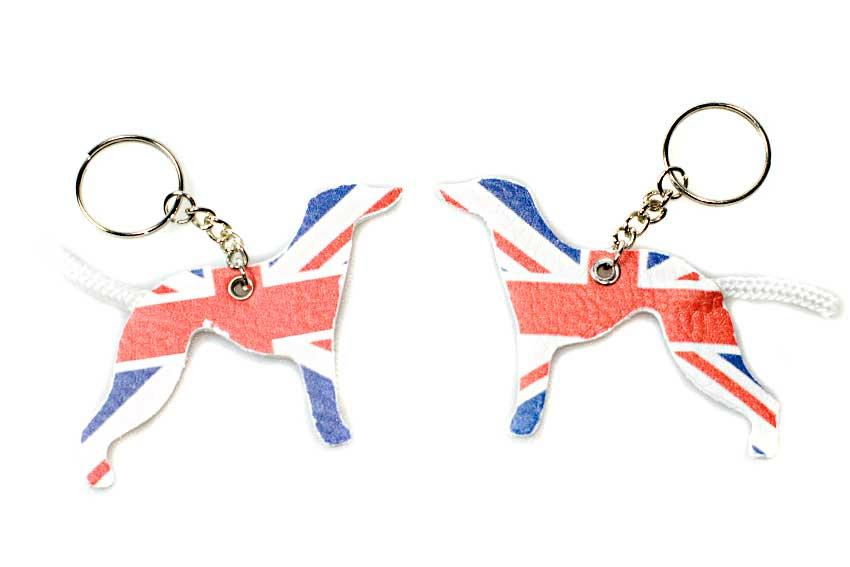 Two UK greyhounds dogs keyring with Union Jack / UK national flag printed on both sides