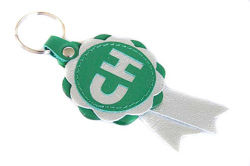 CHAMPION winner leather rosette key ring