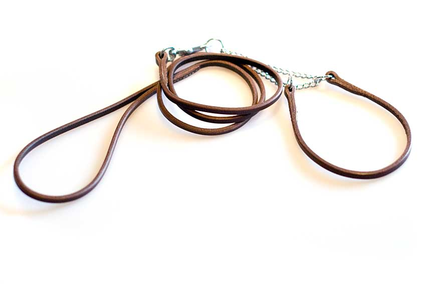 Brown leather half check dog show set: Leather martingale dog show collar and show dog lead