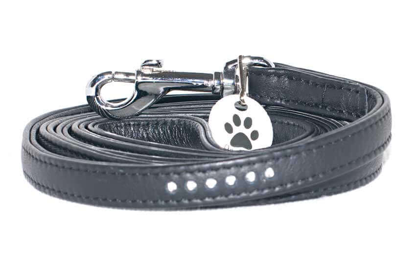 Black stitched leather lead with crystals