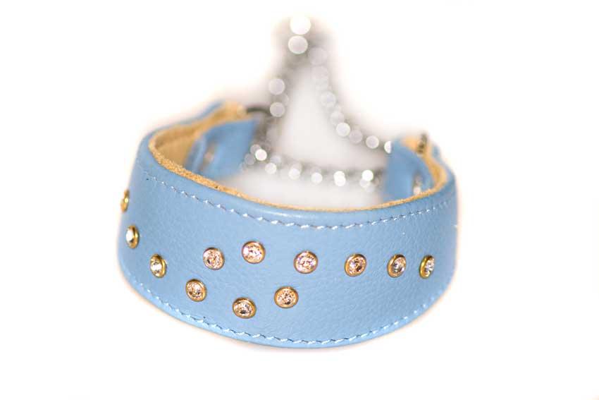 Swarovski crystals martingale hound collar in blue