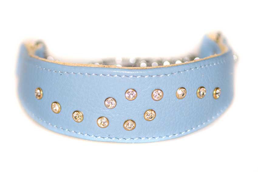 Blue Swarovski crystal martinagale collar