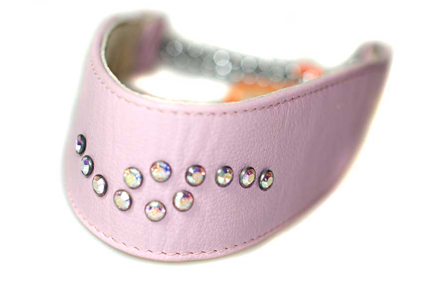 Luxury Swarovski soft padded pink leather martingale dog collar - size S on a Whippet