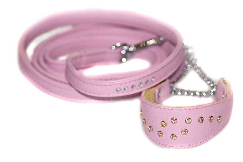 Matching pink leather lead available for Luxury Swarovski soft padded pink leather martingale dog collar