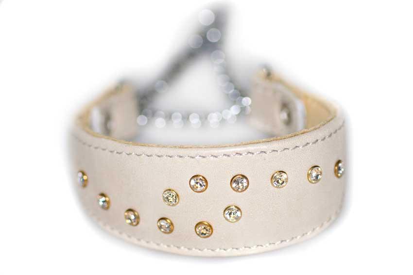 Beige Swarovski crystal martinagale sighthound collar