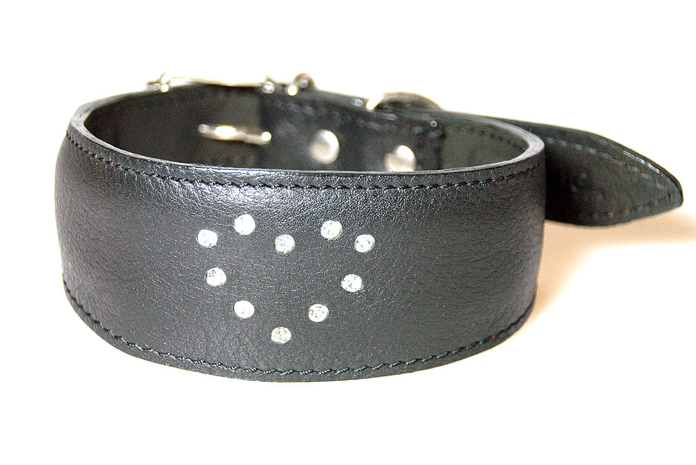 Diamond heart black leather whippet collar