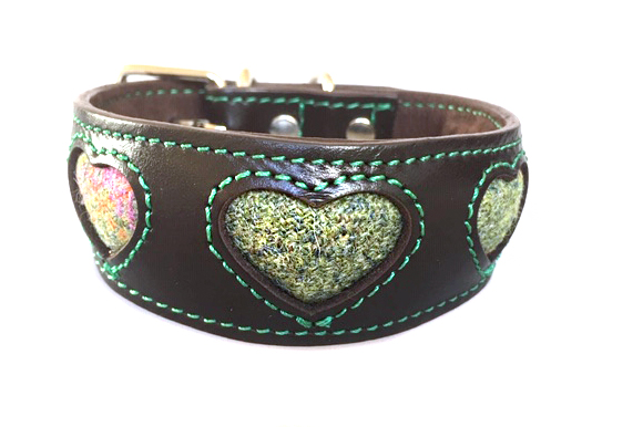 Soft padded brown hound collar with green Scottish tweed hearts