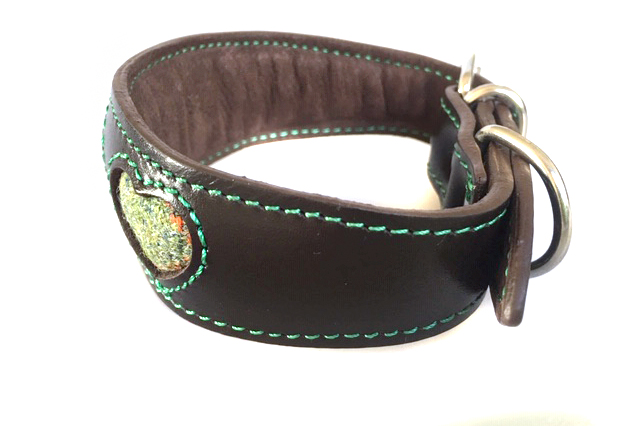 Soft padded brown whippet collar with green Scottish tweed hearts