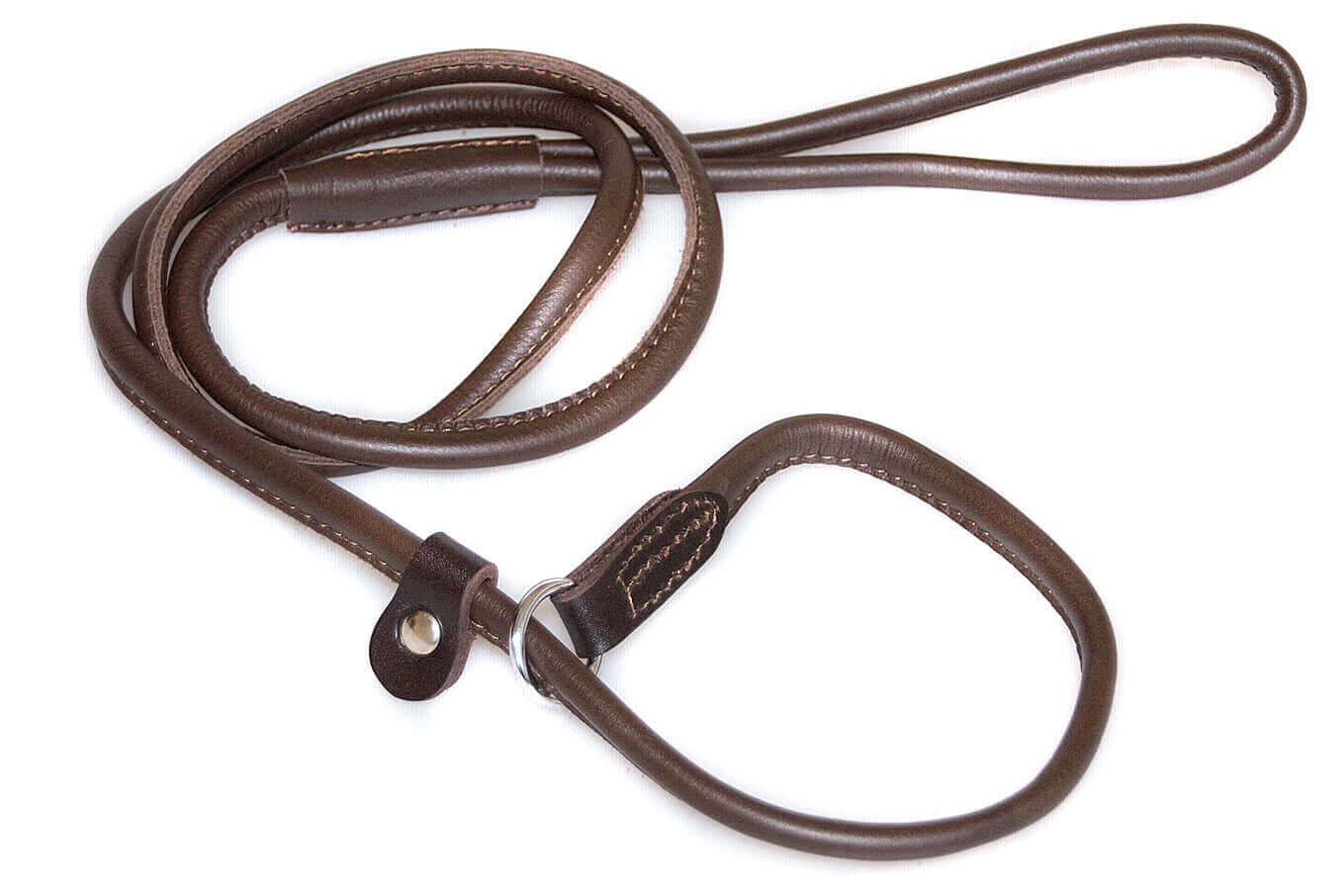 Premium brown rolled leather slip lead