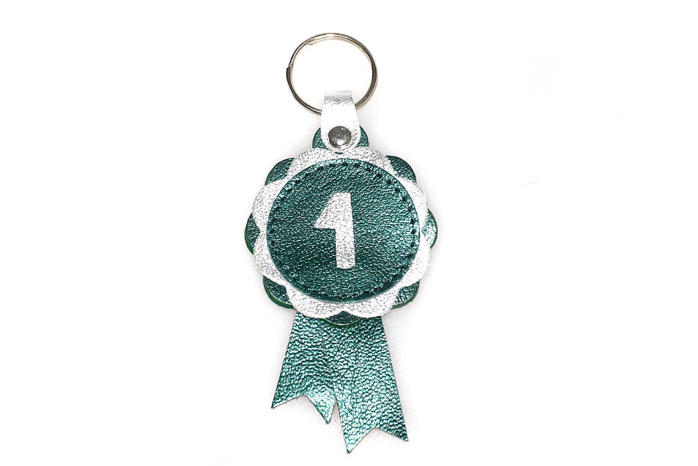 Metallis green and silver show rosette leather key ring