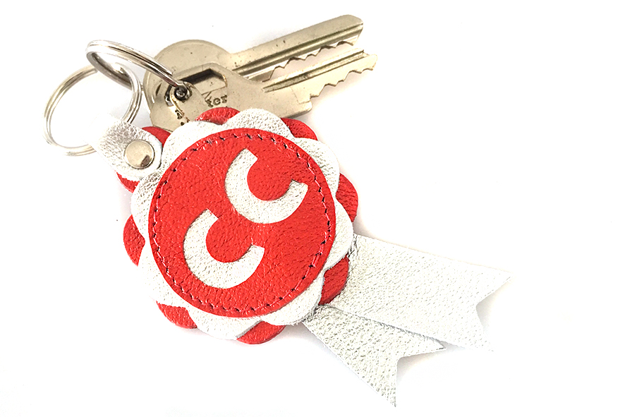 CC key ring in red and silver leather