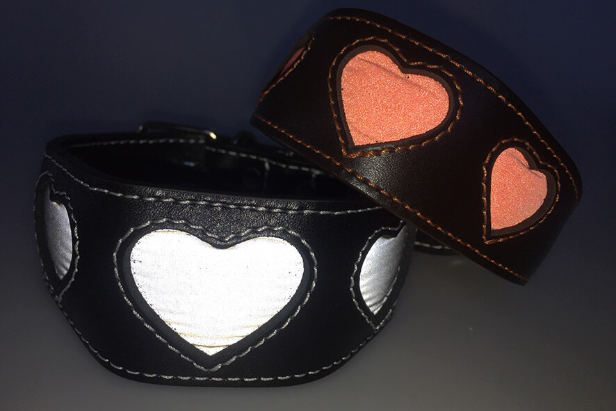 Dog Moda range of reflective hearts collars