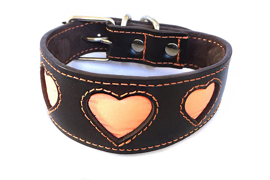 Orange reflective hearts hound collar