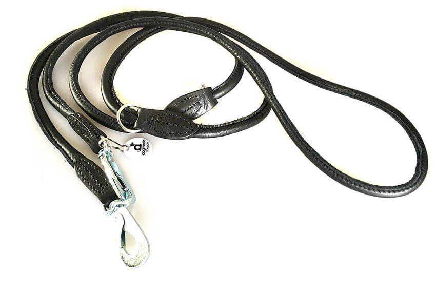 Adjustable black rolled leather dog lead for training and hand-free walking