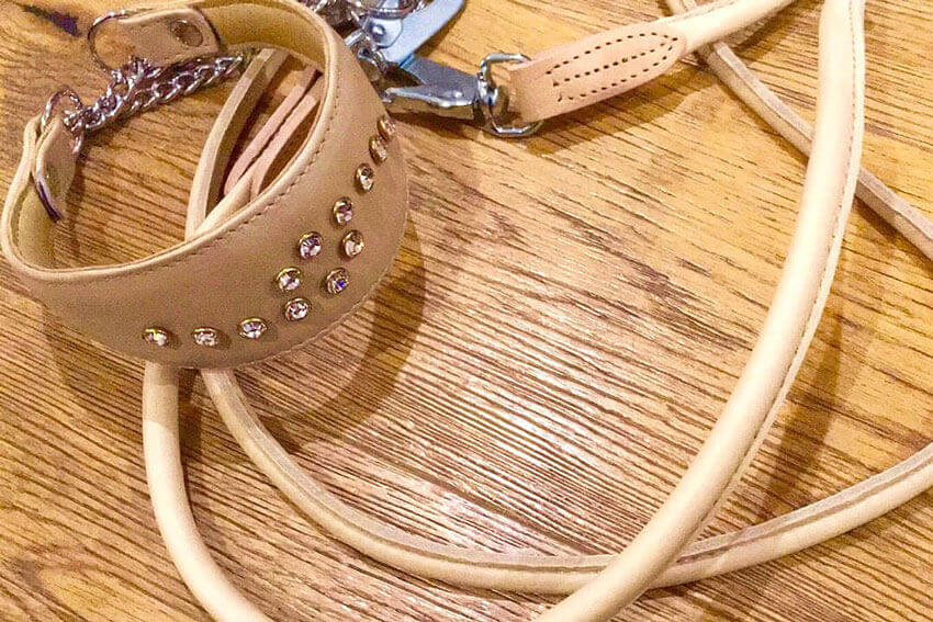 Premium rolled lead in beige with matching Swarovsky whippet collar