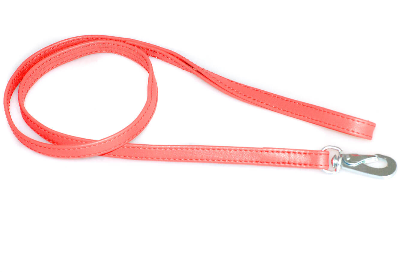 Red nappa leather stitched dog show lead