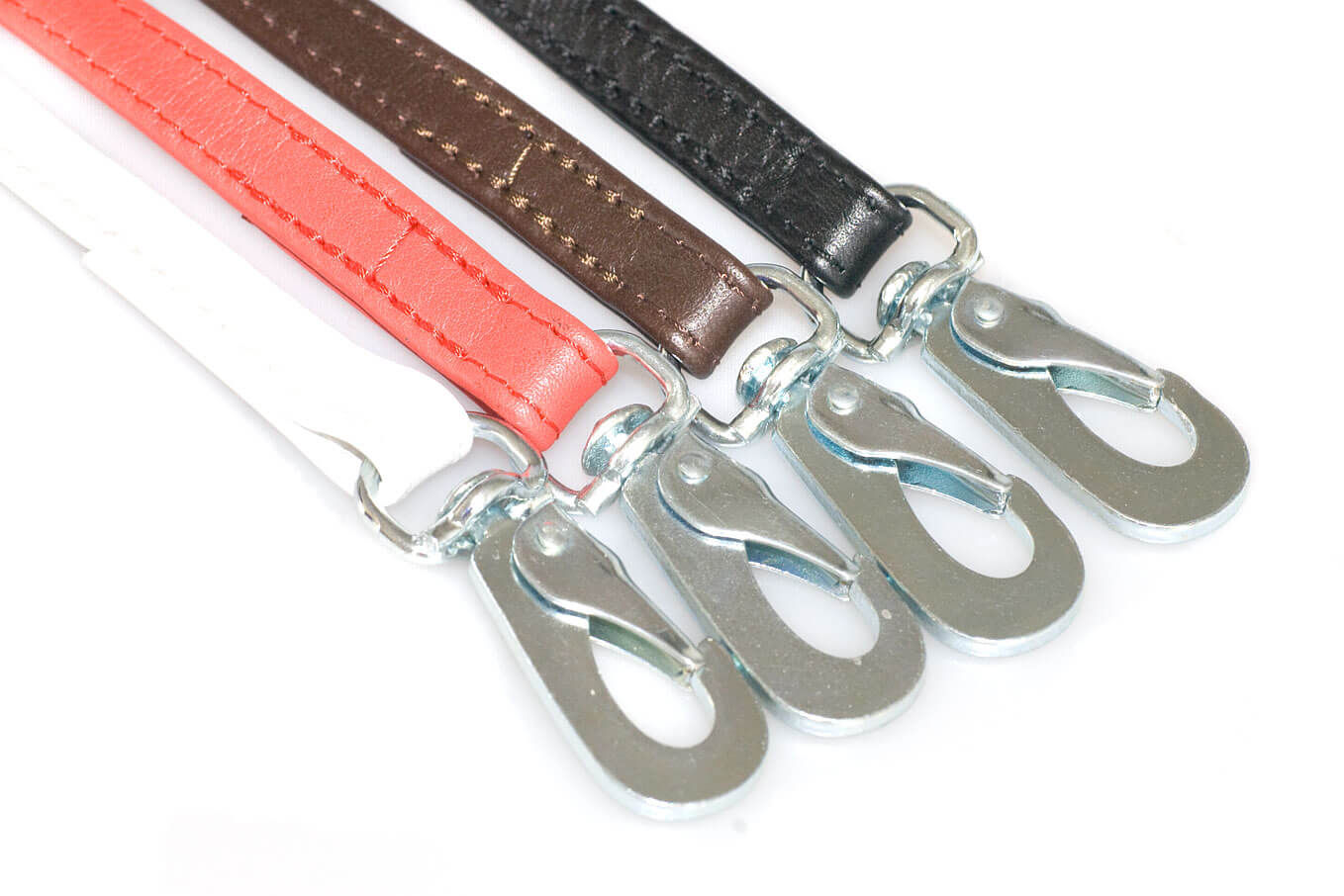 Soft dog show leads in red, white, black and brown