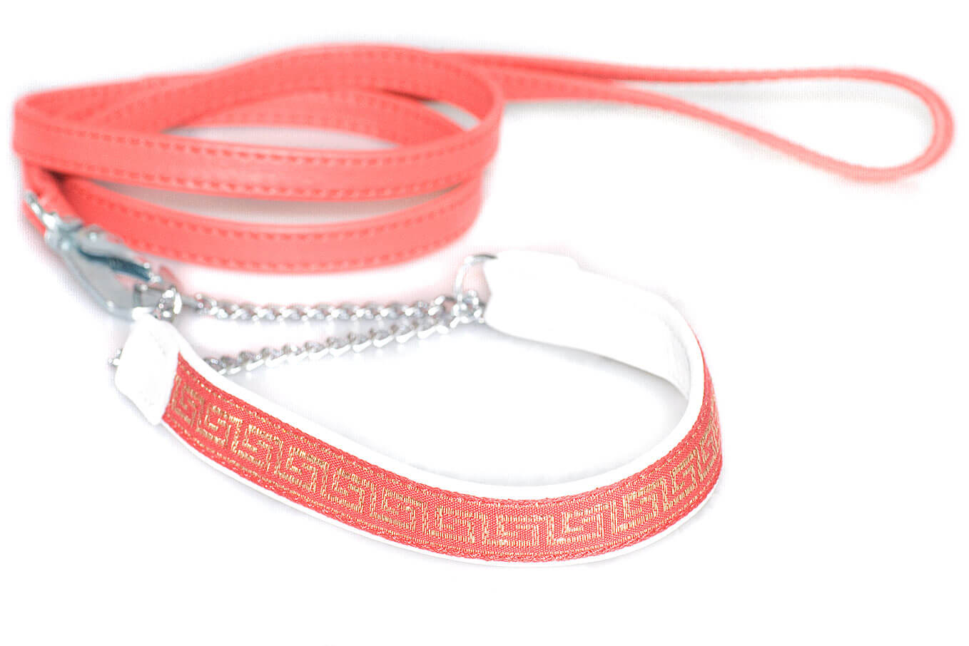 Red nappa leather stitched dog show lead with matching Martingale red leather and ribbon collar