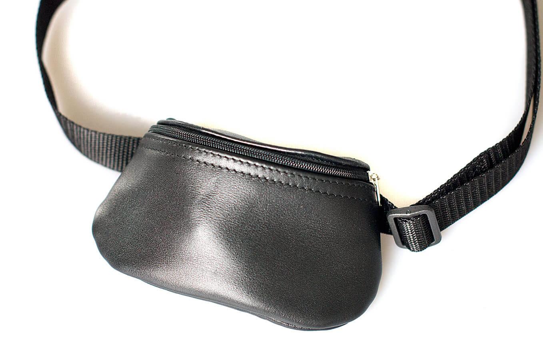Black leather treat bag with adjustable belt