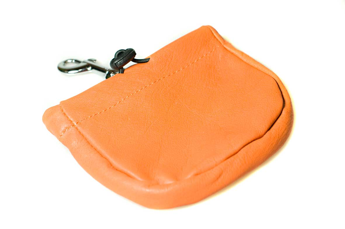 Orange leather clip-on treat bag with drawstring closure and lobster clip on clasp