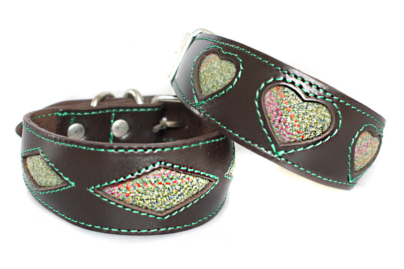 Soft padded brown hound collar with green Scottish tweed hearts and diamonds