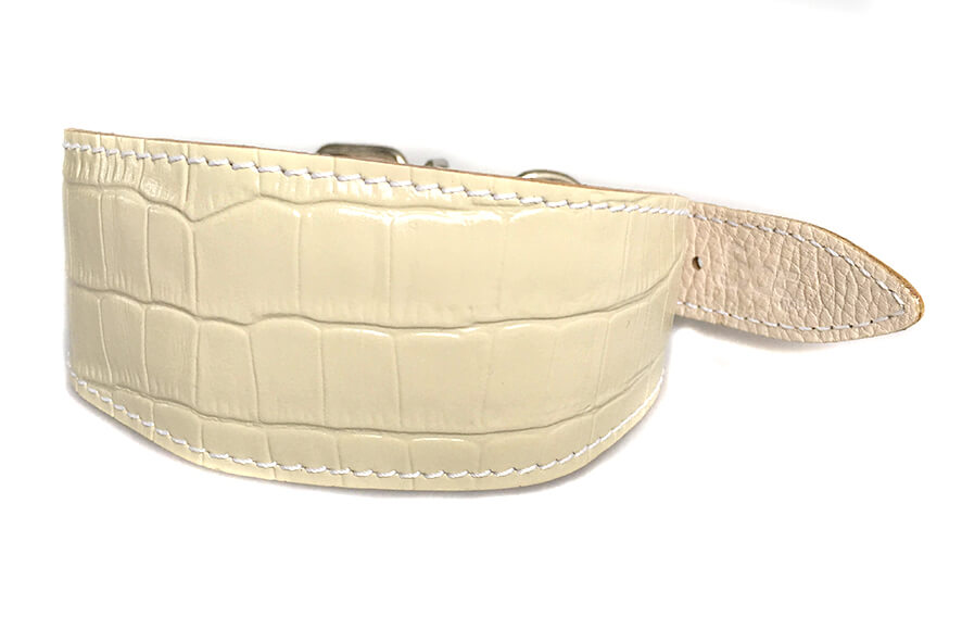 White reptile leather padded Whippet collar