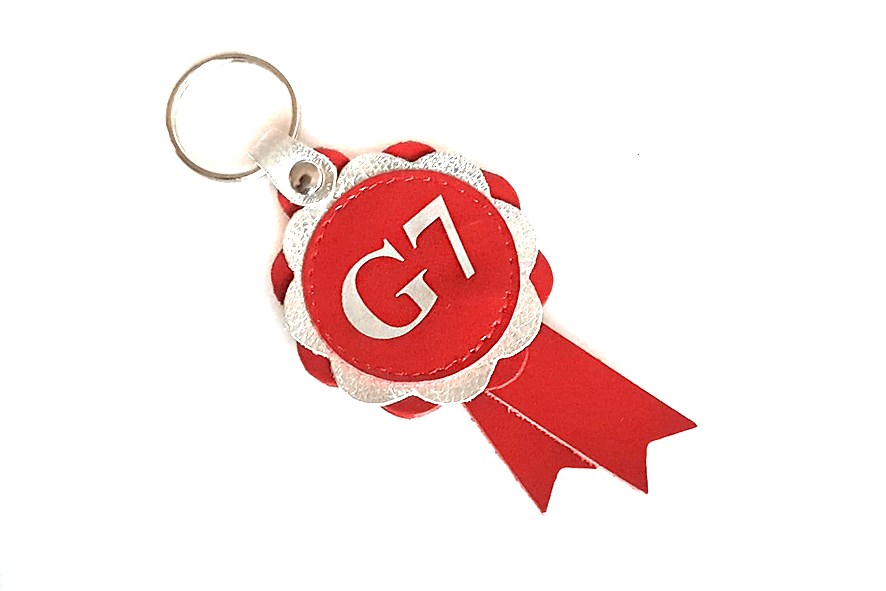 Agility Grade 7 leather rosette keyring in red/silver combination