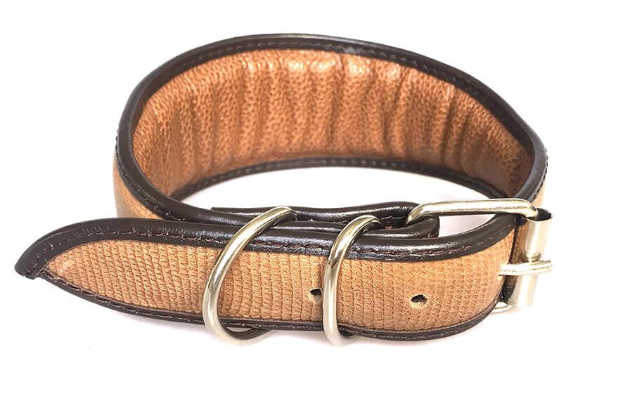 Brown lizard snake leather hound collar