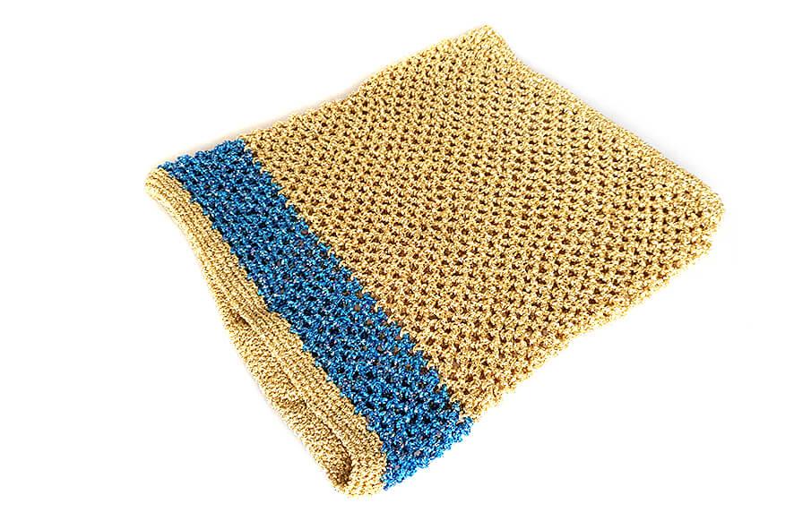 Gold with turquoise metallic yarn crochet dog snood