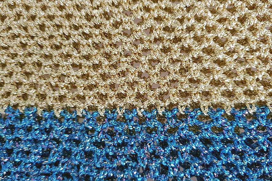 Gold metallic crochet snood
