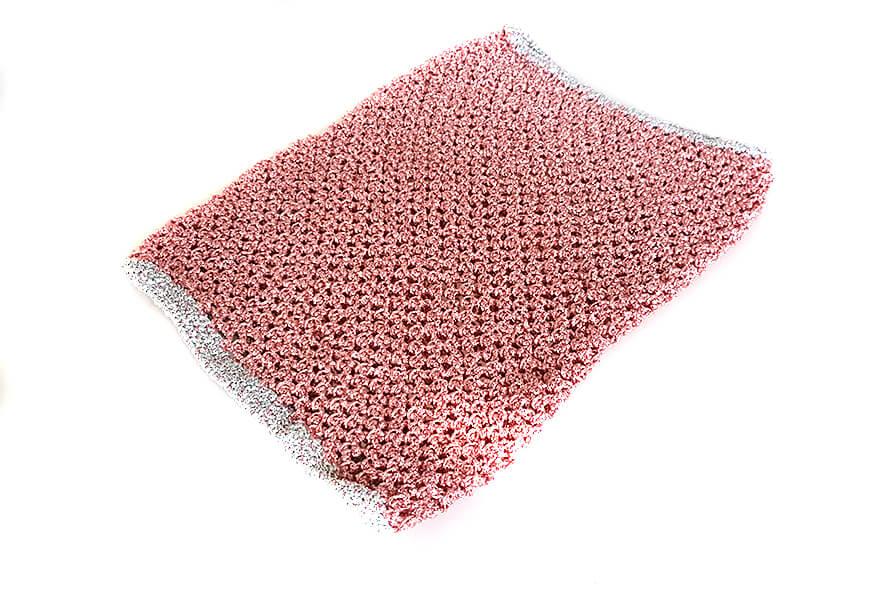 Pink metallic crochet snood