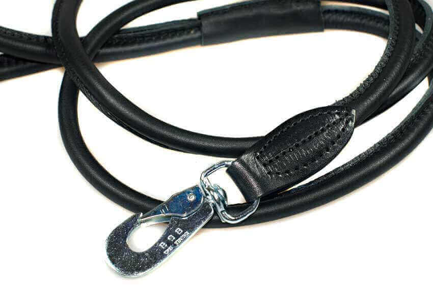 Rolled soft leather premium black leather dog lead