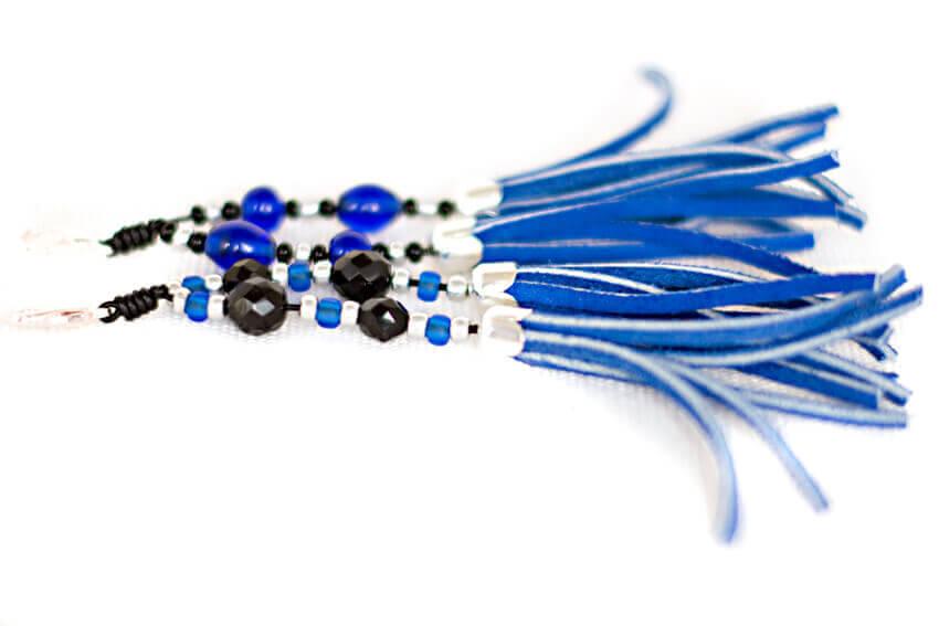 Handmade decorative collar tassels in blue