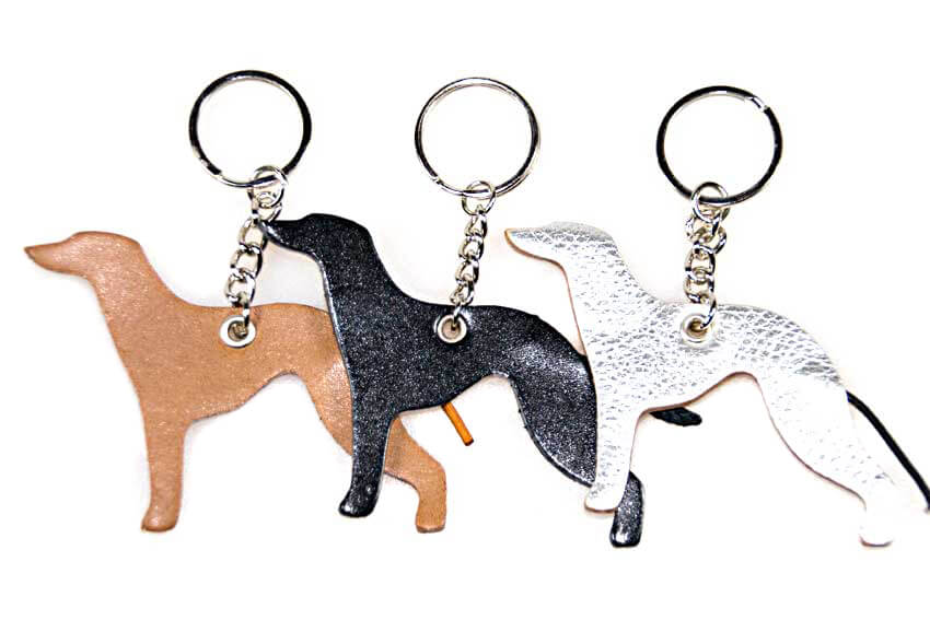 Lurcher key rings fobs are available in fawn, black and silver