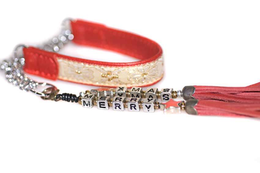Red martingale leather ribbon collar with tassel