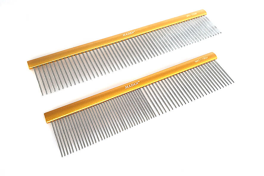 Poodle, also known as finishing comb, is longer with uniformly spaced pins