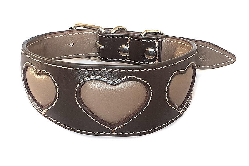 Brown leather sighthound collar with mocha leather hearts