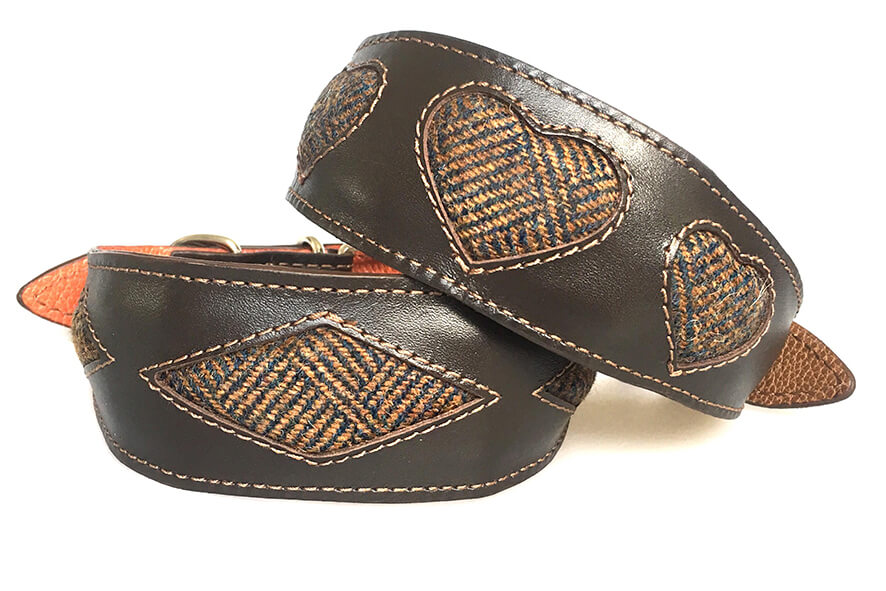 Brown leather padded hound collars with tan Tarras tweed in rhombi and hearts designs