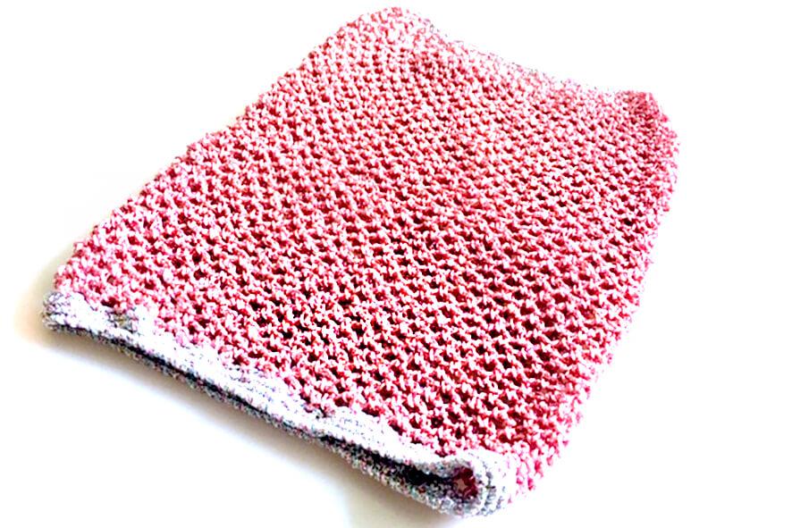 Pale pink sparkle metallic yarn crochet dog snood