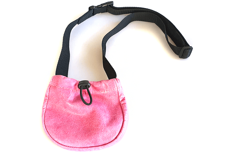 Pink leather treat bag with adjustable belt