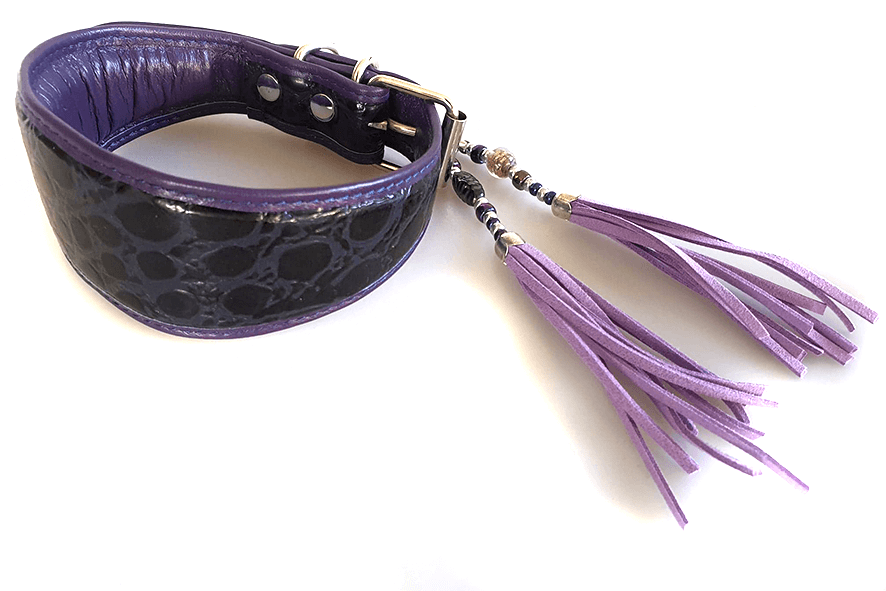 Purple leather hound collar with lilac collar tassel